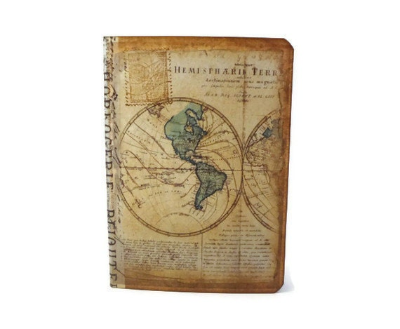 Travel Journal, Old World Map, Mini Travel Notebook, Journal Insert, Passport Size, Travel Pocketbook, Wanderlust Journal
