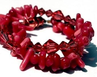 Red Coral and Padparadscha Swarovski Bracelet