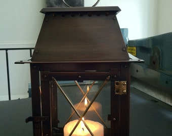 Chalet Style Lantern Candle Holder With Bronze Patina