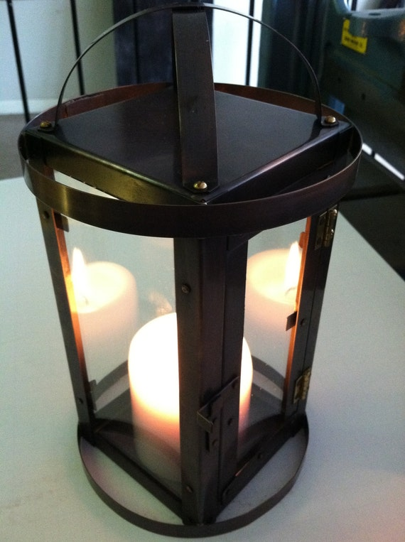 Modern Lantern Style Candle Holder Bronze Patina