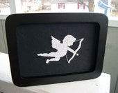 Wedding gift cupid silhouette, ready to ship, black and white with a black frame, OOAK