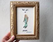 Hip hop Mermaid cross stitch -- French fish pun, ironic wall art