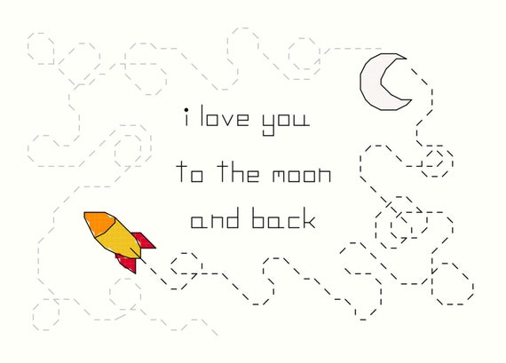Cross Stitch Pattern -- Moon and Back, I love you to the moon and back cross stitch