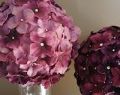 1 Amethyst Purple Crystal Hydrangea Flower Ball Pomander - Purple Wedding Decorations