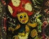 Mario Bros red toad mushroom, handcrafted tie dye tapestry/