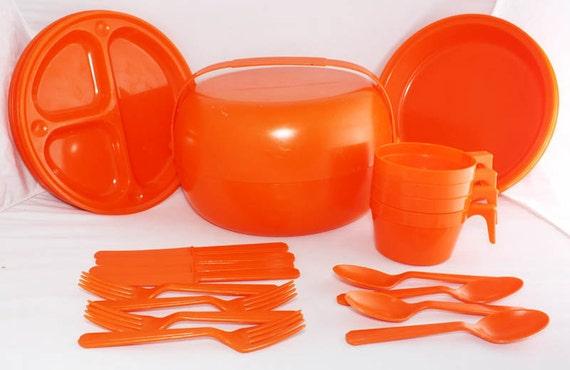 Vintage orange plastic picnic set in space age container- look great in VW campervan
