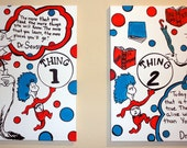 "Dr Seuss Character Set of  Two 20"" x 16"" Wrapped Canvas Original Paintings"
