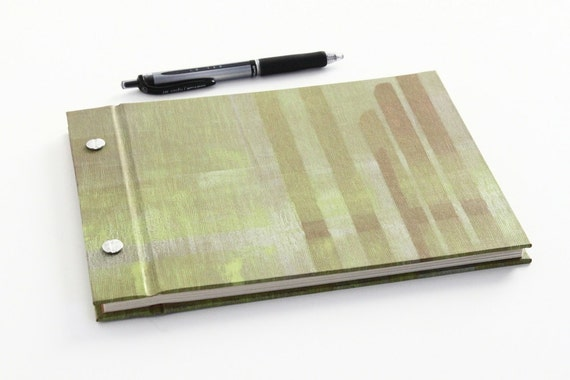 """Hard Cover Guest Book / Journal - Screw Post Binding - Abstract Yellow & Silver on Umber - 80 lb. linen text - 80 pages - 8.75 x 6.5"""""""