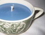 SOY Candle In Vintage Tea Cup, Green and White Design, Blue Wax, Scented Himalayan Bamboo