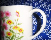 Soy Candle In Vintage Porcelain Floral Mug, Blue Wax, Scented Himalayan Bamboo