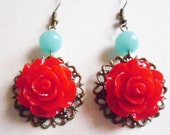 Rockabilly Rose Drop Earrings in Romantic Red with Aqua Jade and Vintage Brass - spring flower dangles