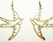 Swallow Earrings in Antique Bronze Big & Bold Statement Tattoo Sailor Mockingjay
