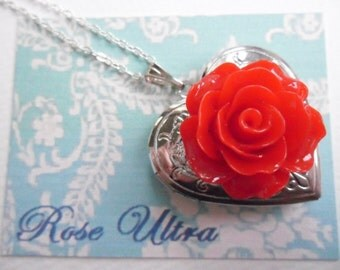 Red Rose Locket, Silver Heart Locket, Red Flower Locket Necklace