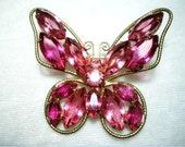 Charming Pink Rhinestone Butterfly Brooch  1860ag-040810000