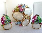 Summer Delights - Moonglow & Pastel Brooch/Earring Set   1363ag-040810000