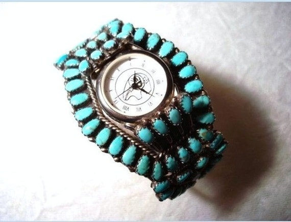 Navajo Native American Dead Pawn Turquoise Watch Cuff Bracelet  L M Begay  1510ag-040410000