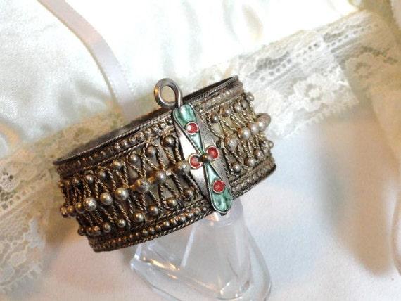 Silver Tribal Bangle Bracelet - Intricate Design  1051ag-012312000