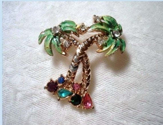 Rhinestone Palm Tree Brooch - Darling Enameled  1036ag-040111000