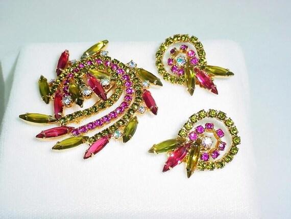 Vintage  Brooch  Set - Green & Pink Rhinestone Swirl  1740ag-012312000