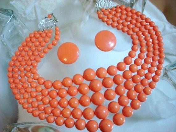 Coral Multi Strand Bead Necklace & Earrings Set - Salmon Lucite Beads   1336ag-012312000