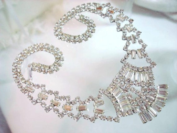Rhinestone Wedding Necklace - Signed Belle   1344ag-012312000