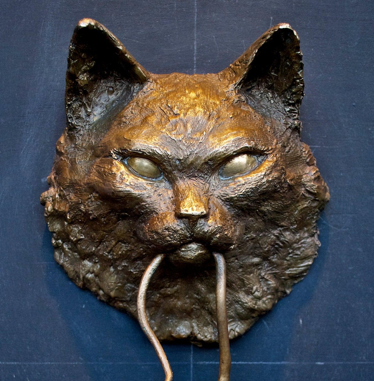 Cat Door Knocker Bronze Sculpture Longhair