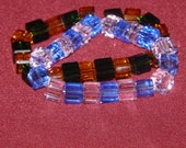 DNA Block Beads Pink Blue Green and Yellow Stretch Bracelet