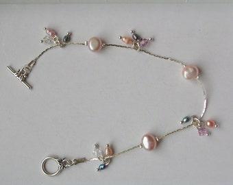 Freshwater Pearl bracelet with  Seed Pearls & Swarovski Crystals