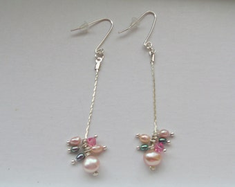 Freshwater pink pearl Earrings with seed pearls - sterling silver ear wires