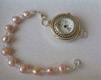 Freshwater pink pearl and Swarovski  Elements crystal bracelet watch, Ladies watch, gift for her, mother's day gift,freshwater pearl watch.