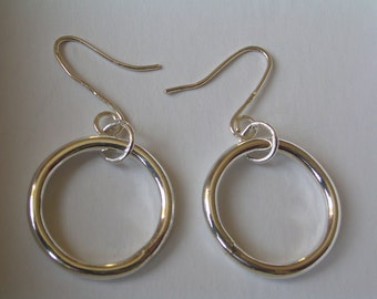Sterling Silver hoop earrings, Silver hoops, Sterling silver earrings. Gift for her.