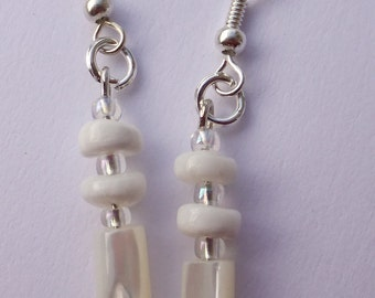 White troca shell Bridal earrings