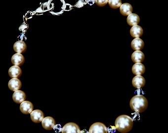 Swarovski Elements Cream Pearl and Crystal Bracelet
