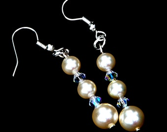 Swarovski Cream Pearl and Crystal Earrings