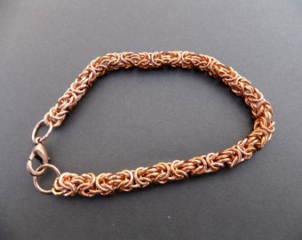 Copper Byzantine chainmaille bracele, Ladies bracelet,  rheumatism bracelet, chainmaille bracelet, gift for her, mother's day gift, copper.