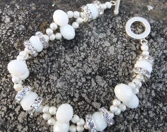 White and crystal bridal bracelet