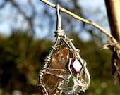 Sun Ray Silver Pendant with Topaz, Garnet, Herkimer Diamond and Opal