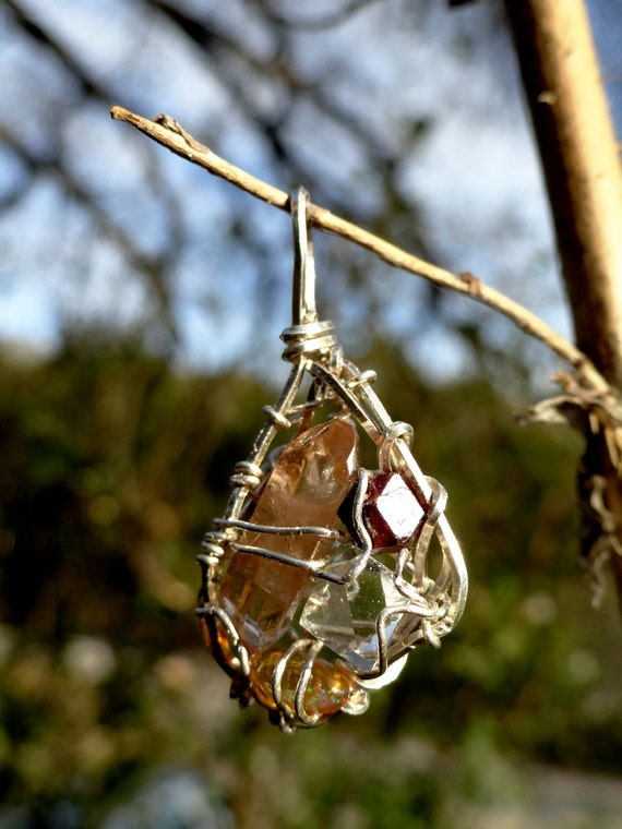 Sun Ray Silver Pendant with Topaz, Garnet, Herkimer Diamond and Opal