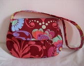 Sale Pleated Clutch Style Purse Amy Butler Floral print in Wine