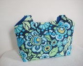 Large Tote in Green and Blue Amy Butler Floral Print