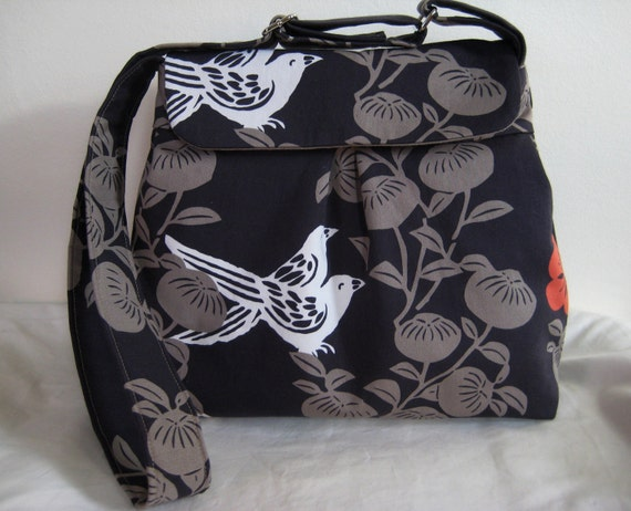 Messenger Bag, Cross Body Bag in Rare, Out of Print Bird and Floral Fabric