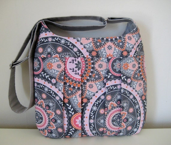 Sale Cross Body Bag, Pleated, in Pink, Grey, and Orange contemporary print