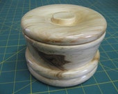 Rustic aspen tree hand turned lidded powder bowl