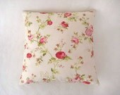 "Shabby Chic Home - Linen Cream Pillow Covers with Green, Red and Pink Floral Print - 18x18"" - Gift for Her, for Mom"