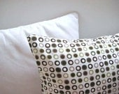 """Shabby Chic Home - Linen Cream Pillow Cover with Brown and Green Circles Print - 18x18"""" - Gift for Her, for Mom - Ready to Ship Decor"""