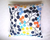 "Blue Pillow Cover - White Linen with Blue Turquoise Yellow Orange Circles Print for Home Decor - 18x18"" - Gift for Her"