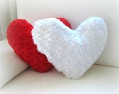 """White Heart Pillow Cover - 17x15"""" - Gift for Her - Ready to Ship Decor - So Soft..."""