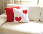 "White Pillow Cover with Red Hearts on it - 18x18"" - Gift for Her - Ready to Ship Decor - So Soft..."
