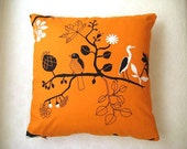 "Eco-Friendly - Cotton Orange Pillow Cover with Black and White Birds and Tree Print - 18x18"" - Gift for Her, for Mom - MyDreamHome"
