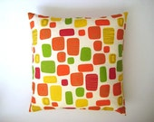 "Geometrical Print Pillow Cover - Cream Linen with Green Pink Orange and Yellow Geometric Print on it - 18x18"" - Gift for Mom - Ready to Ship"